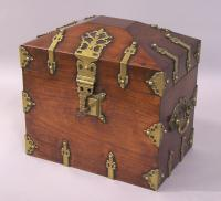 French wood and brass Tantalus decanter box c1840 to 1860