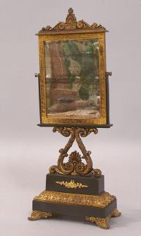 Early French iron and bronze shaving mirror c1820 to 1840