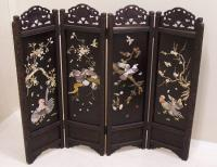 Chinese four panel screen with soapstone and shell