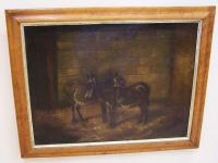 Antique English Painting of two donkeys in a barn c1860