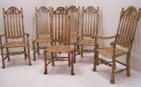 Set Six Wallace Nutting banister back chairs with rush seats c1930