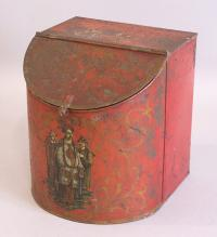 19th century Chinese Chinoiserie tea tin with original paint
