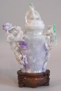 Chinese Jadeite jar with carved wood pedestal