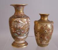 Two Japanese Satsuma Vase Meiji period with damage