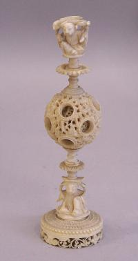 Chinese ivory puzzle ball stand