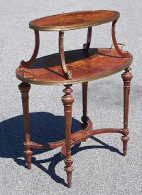 French antique marquetry inlaid dessert table