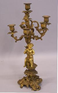 French gilt bronze cherub candelabra c1875