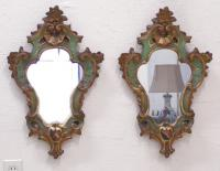 Pair of antique hand painted Italian Rococo wall mirrors