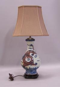 Chinese blue porcelain dragon lamp c1830