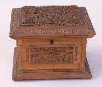 Carved Chinese Sandalwood jewelry box with insert c1850