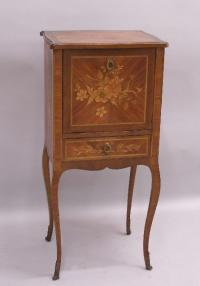French inlaid fruitwood night stand with cabinet and drawer c1900