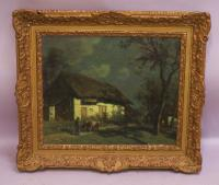 F Cachoud French country landscape oil painting with stars c1900