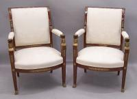 Pair Egyptian revival bronze and mahogany upholstered chairs c1880