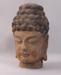 Chinese 18th century Carved Wood Buddha head