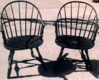 Pair of black painted American Windsor Sach back arm chairs c1790