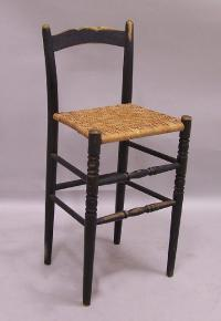 French high kitchen stool with woven cane seat c1880