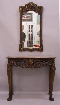 18th century style Baroque console marble table with mirror c1880