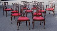 Antique set of eleven Chippendale style dining chairs c1900
