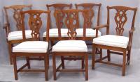 Six Stickley Cherry Country Chippendale dining chairs
