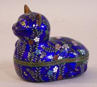 Rare Japanese cloisonne Ginbari covered Cat box Meiji