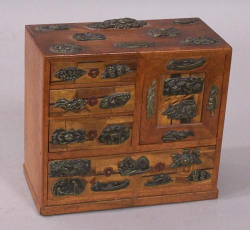 Japanese Meiji Miniature Jewelry cabinet box with Menuki