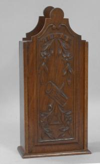 Early country French walnut wall pipe box c1800