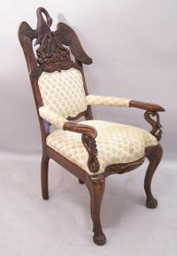 Period French Empire carved swan arm chair c1810