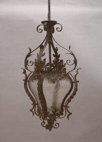 French wrought iron porte cochere lantern c1920