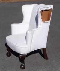 Bench made Chippendale ball and claw foot wing chair by Seaver Portsmouth NH