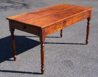 Antique American country pine kitchen table with drawer c1830