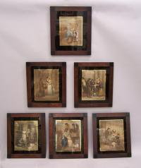 Set of six English lithographs The Lives of London set in rosewood frames
