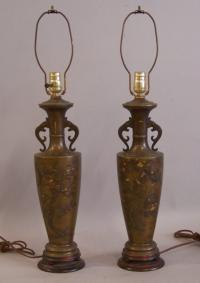 Japanese Meiji Shakudo mixed metal bronze vases