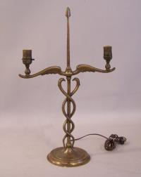 Sword of Aesclipius bronze lamp