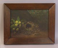 A Shrigley oil painting on canvas of a birds nest c1902