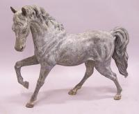 Large solid bronze prancing horse