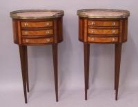 Pair French marble top night stands with brass gallery c1880