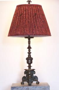 Baroque style ball and claw foot bronze table lamp c1900