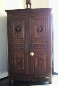 French carved oak double door armoire c1880