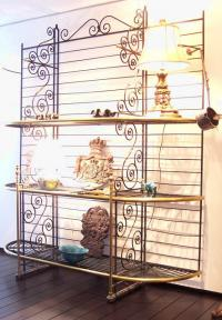 Vintage French brass and iron Bakers rack c1930