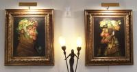 Pair of portraits signed J. Klepp in the style of Arcimboldo