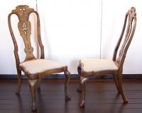 Pair of Italian 18th century chairs with carved splat backs and crests