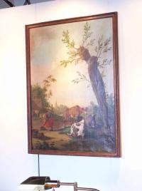 Large antique 18th century French landscape oil on canvas