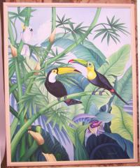 Oil on canvas of toucans and cockatiel by Maria A Rameri