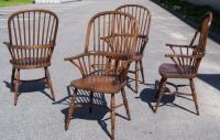 Set of four reproduction English Windsor Oak Arm Chairs