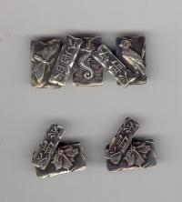 Japanese design sterling silver cuff links and brooch
