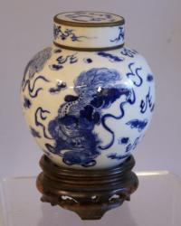 Chinese covered ginger jar with dragons