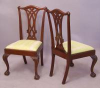 Pair American ball and claw foot mahogany Chippendale chairs c1875