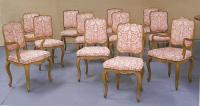 Twelve vintage French fruitwood dining chairs Degaal and Walker NY