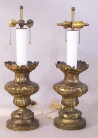 Pair of antique tin repousse Continental lamps c1840