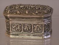 19th century hand casted silver covered box
